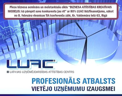 """Ar LUAC atbalstu uzņēmumi var apmeklēt semināru ciklu """"Biznesa attīstības kreatīvais modelis"""""""